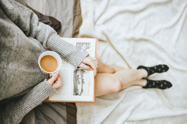 reading with a coffee